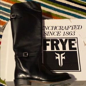 New-Frye Black Leather Tall Boots Shoes-Dorado-6.5